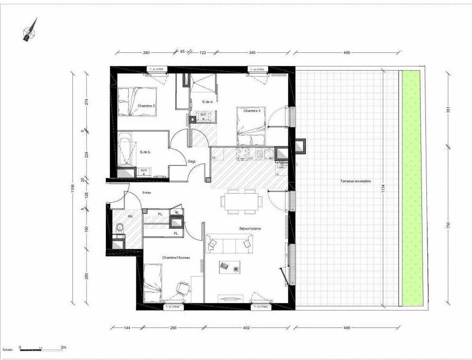 Plan 1211, appartement neuf type T4 au 1er étage, orienté Est faisant 84m² du programme neuf INTIMISTE BATIMENT 2 à Clermont-Ferrand.