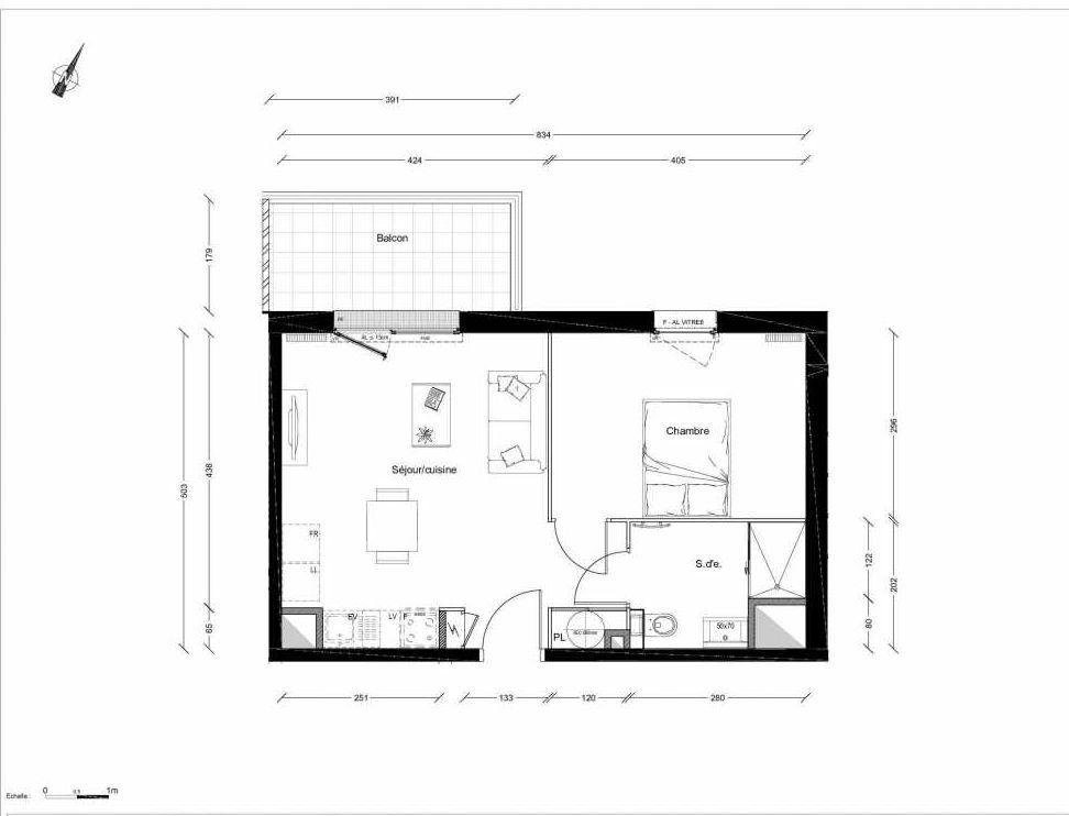 Plan 1214, appartement neuf type T2 au 1er étage, orienté Nord faisant 40m² du programme neuf INTIMISTE BATIMENT 2 à Clermont-Ferrand.