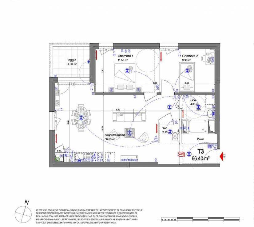 Plan 122, appartement neuf type T3 au 2ème étage, orienté Nord faisant 66m² du programme neuf LES CONTEMPORAINES ST AV. CONTEMPORAINES à Saint-Avertin.