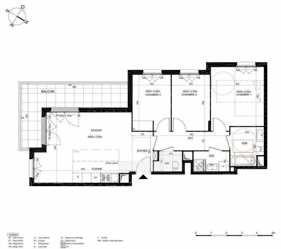 Plan 122, appartement neuf type T4 au 2ème étage, orienté Sud faisant 79m² du programme neuf LES JARDINS BALZAC BAT 3 à Argenteuil.