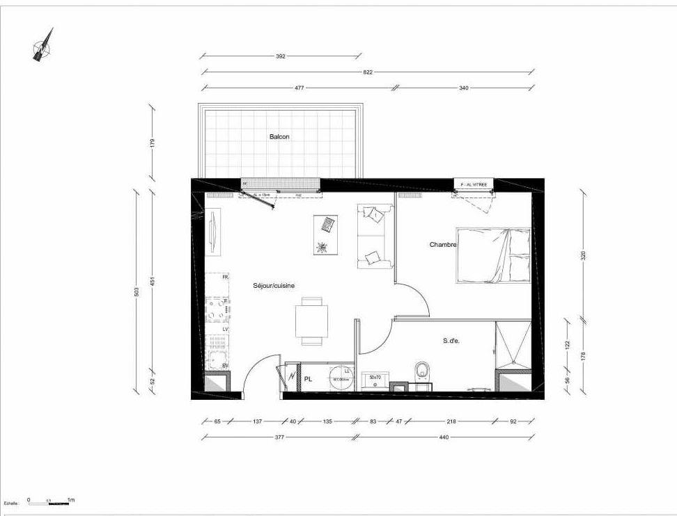 Plan 1221, appartement neuf type T2 au 2ème étage, orienté Nord faisant 40m² du programme neuf INTIMISTE BATIMENT 2 à Clermont-Ferrand.