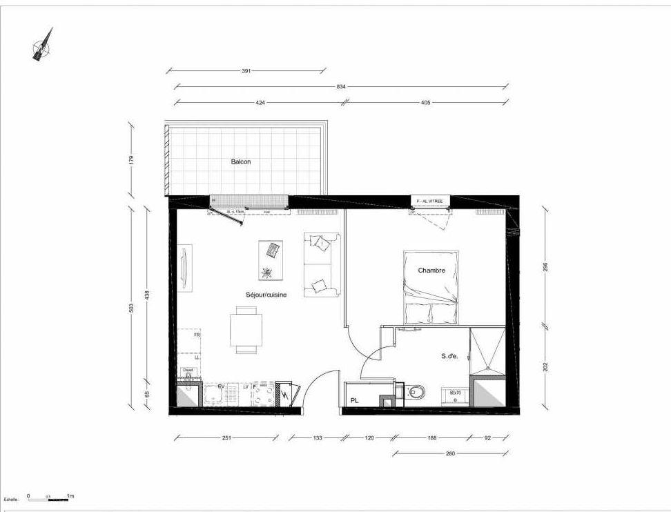 Plan 1225, appartement neuf type T2 au 2ème étage, orienté Nord faisant 40m² du programme neuf INTIMISTE BATIMENT 2 à Clermont-Ferrand.