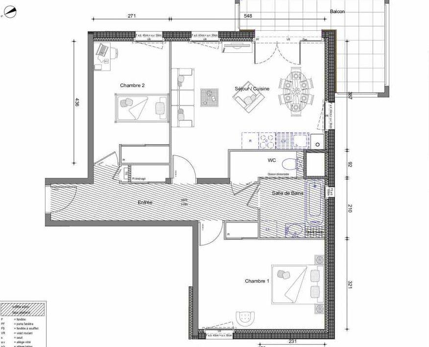 Plan 123, appartement neuf type T3 au 2ème étage, orienté Ouest faisant 69m² du programme neuf LE DAHLIA BATIMENT A - ACCESSION à Vétraz-Monthoux.