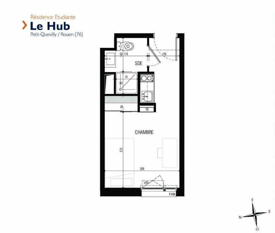 Plan 123, appartement neuf type T1 au 1er étage, faisant 18m² du programme neuf Le Hub à Le Petit-Quevilly.