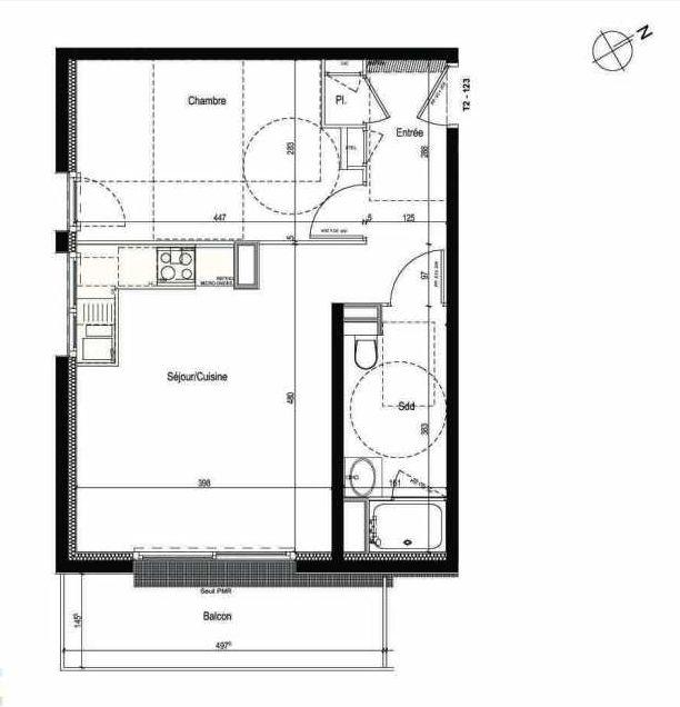 Plan 123, appartement neuf type T2 au 1er étage, faisant 42m² du programme neuf Les Boréales à Rouen.