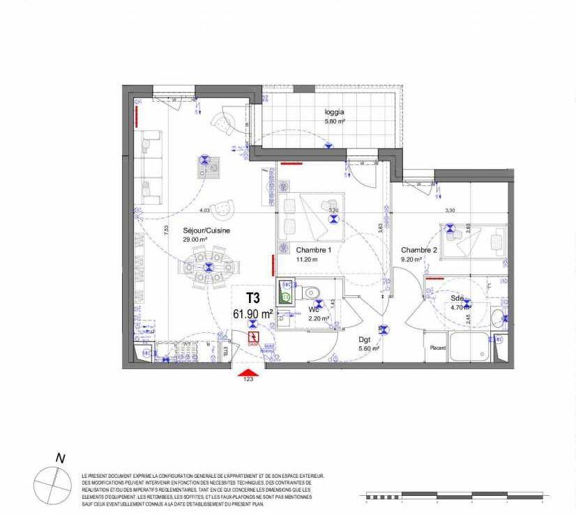 Plan 123, appartement neuf type T3 au 2ème étage, orienté Nord faisant 62m² du programme neuf LES CONTEMPORAINES ST AV. CONTEMPORAINES à Saint-Avertin.