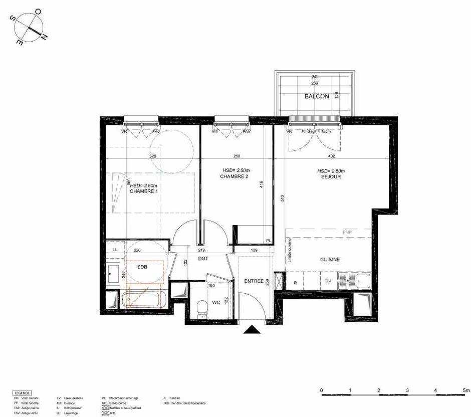 Plan 123, appartement neuf type T3 au 2ème étage, orienté Sud faisant 58m² du programme neuf LES JARDINS BALZAC BAT 3 à Argenteuil.