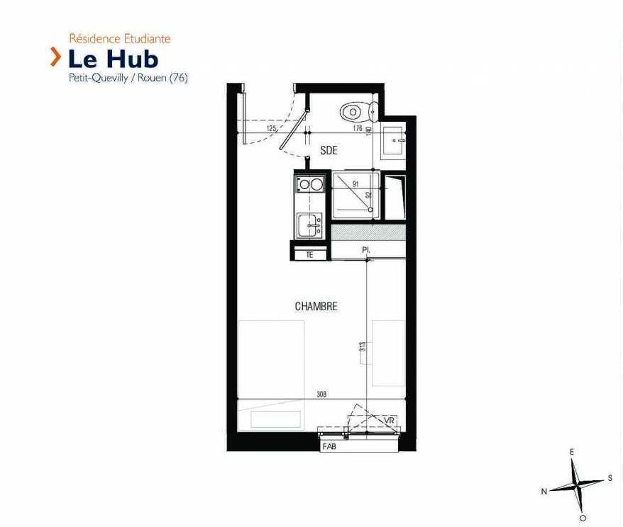Plan 124, appartement neuf type T1 au 1er étage, faisant 18m² du programme neuf Le Hub à Le Petit-Quevilly.
