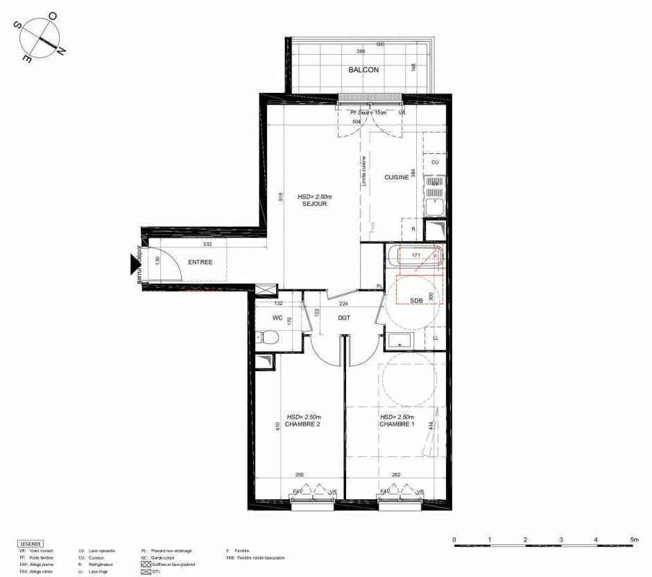 Plan 124, appartement neuf type T3 au 2ème étage, orienté Sud faisant 60m² du programme neuf LES JARDINS BALZAC BAT 3 à Argenteuil.