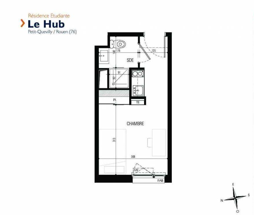 Plan 125, appartement neuf type T1 au 1er étage, faisant 18m² du programme neuf Le Hub à Le Petit-Quevilly.