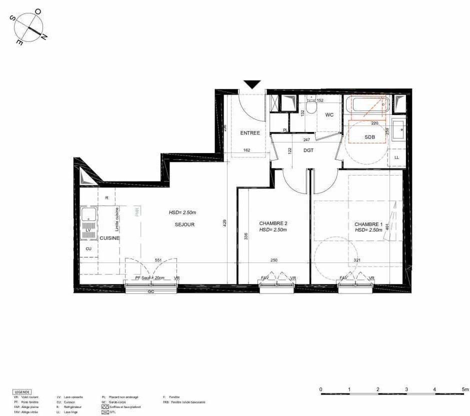 Plan 125, appartement neuf type T3 au 2ème étage, orienté Nord faisant 59m² du programme neuf LES JARDINS BALZAC BAT 3 à Argenteuil.
