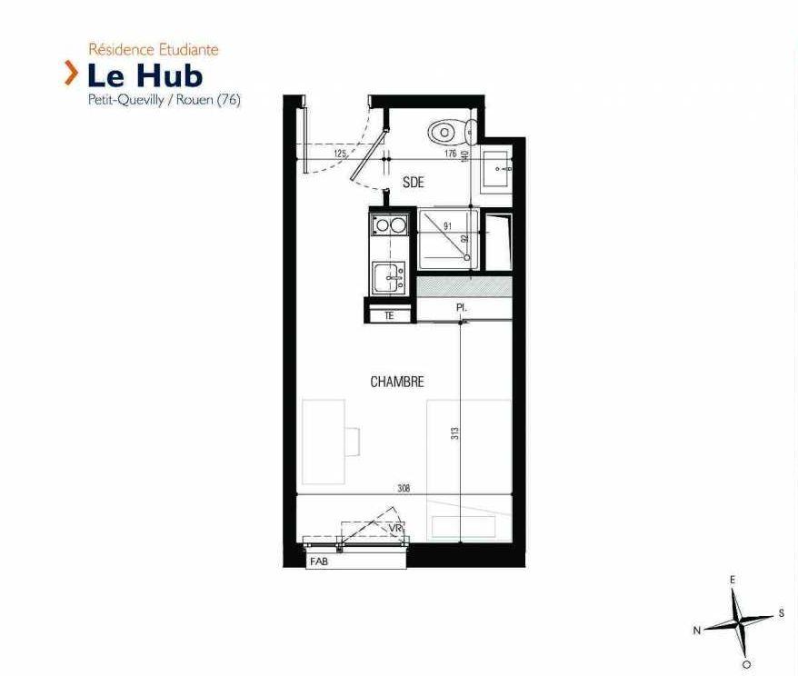 Plan 126, appartement neuf type T1 au 1er étage, faisant 18m² du programme neuf Le Hub à Le Petit-Quevilly.