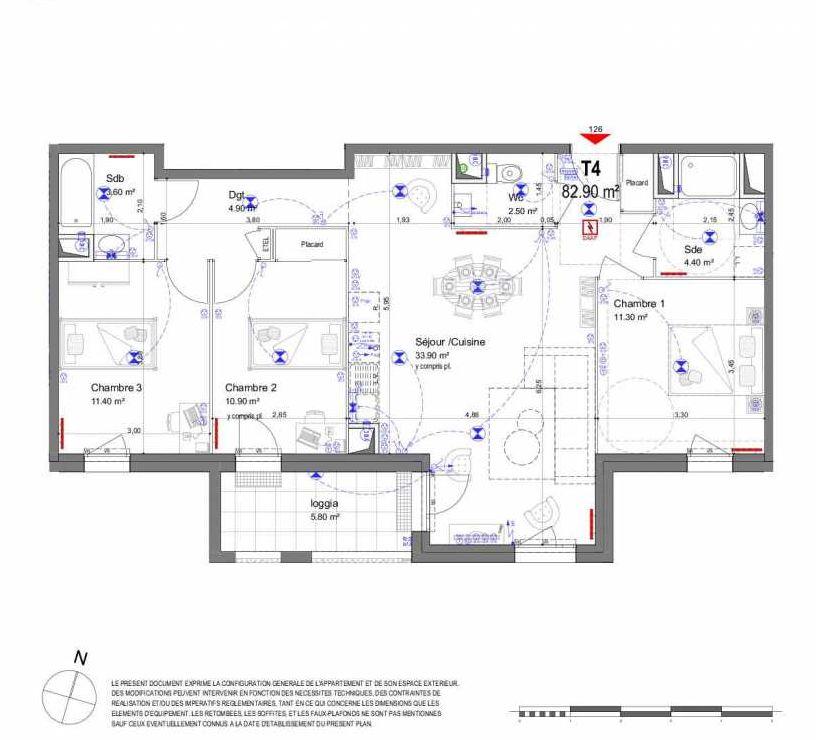 Plan 126, appartement neuf type T4 au 2ème étage, orienté Sud faisant 83m² du programme neuf LES CONTEMPORAINES ST AV. CONTEMPORAINES à Saint-Avertin.