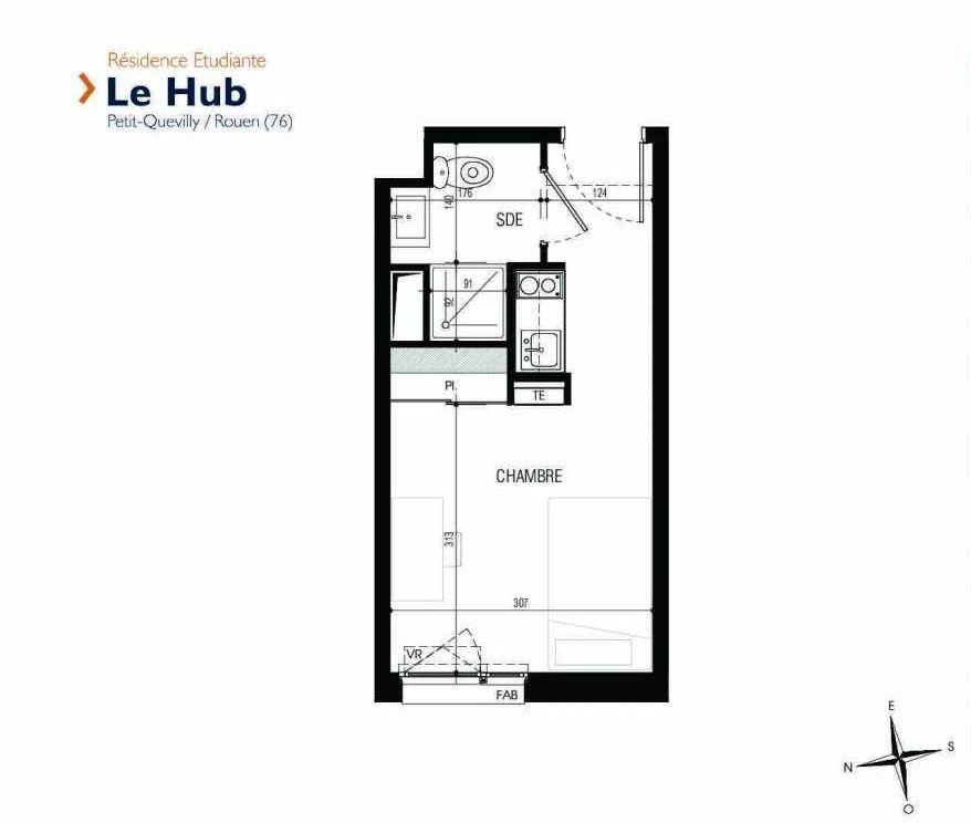 Plan 127, appartement neuf type T1 au 1er étage, faisant 18m² du programme neuf Le Hub à Le Petit-Quevilly.