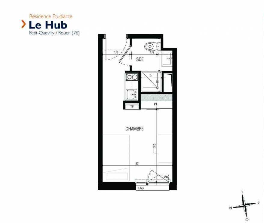 Plan 128, appartement neuf type T1 au 1er étage, faisant 17m² du programme neuf Le Hub à Le Petit-Quevilly.