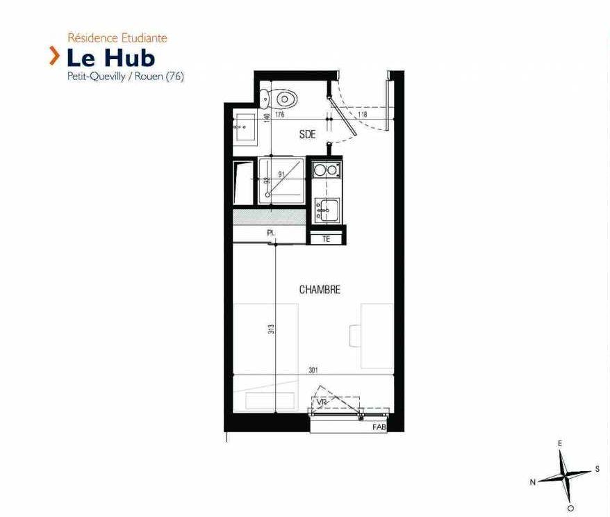 Plan 129, appartement neuf type T1 au 1er étage, faisant 17m² du programme neuf Le Hub à Le Petit-Quevilly.