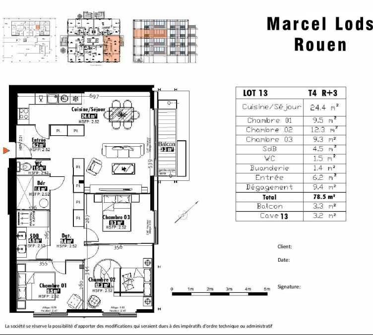 Plan 13, appartement neuf type T4 au 3ème étage, faisant 79m² du programme neuf 15 rue Jean-Philippe Rameau à Rouen.