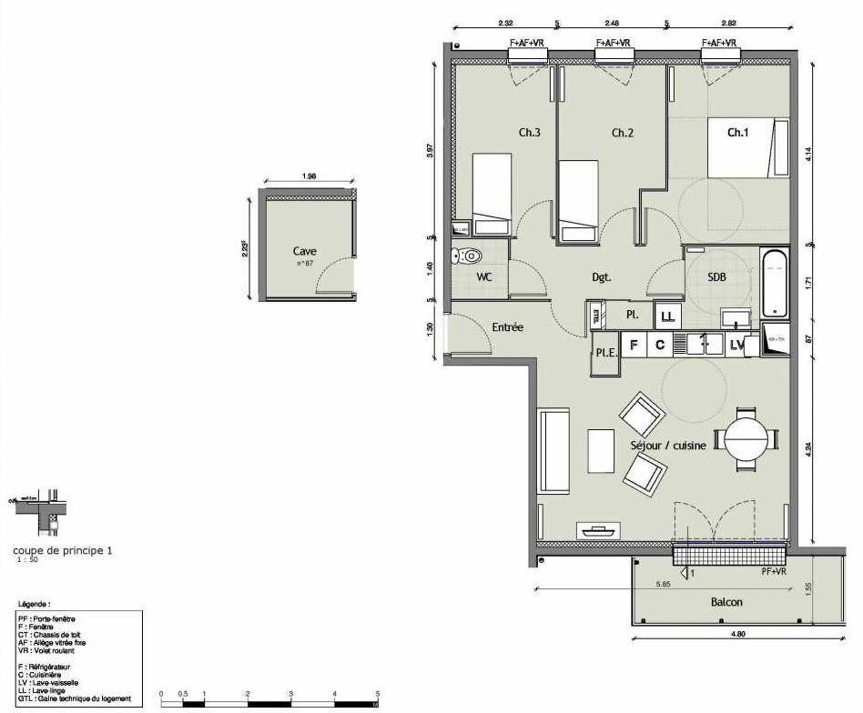 Plan 13, appartement neuf type T4 au 4ème étage, orienté Sud faisant 75m² du programme neuf RIVEO BATIMENT A - 23 LOTS à Rouen.