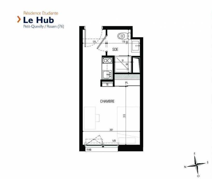 Plan 130, appartement neuf type T1 au 1er étage, faisant 18m² du programme neuf Le Hub à Le Petit-Quevilly.