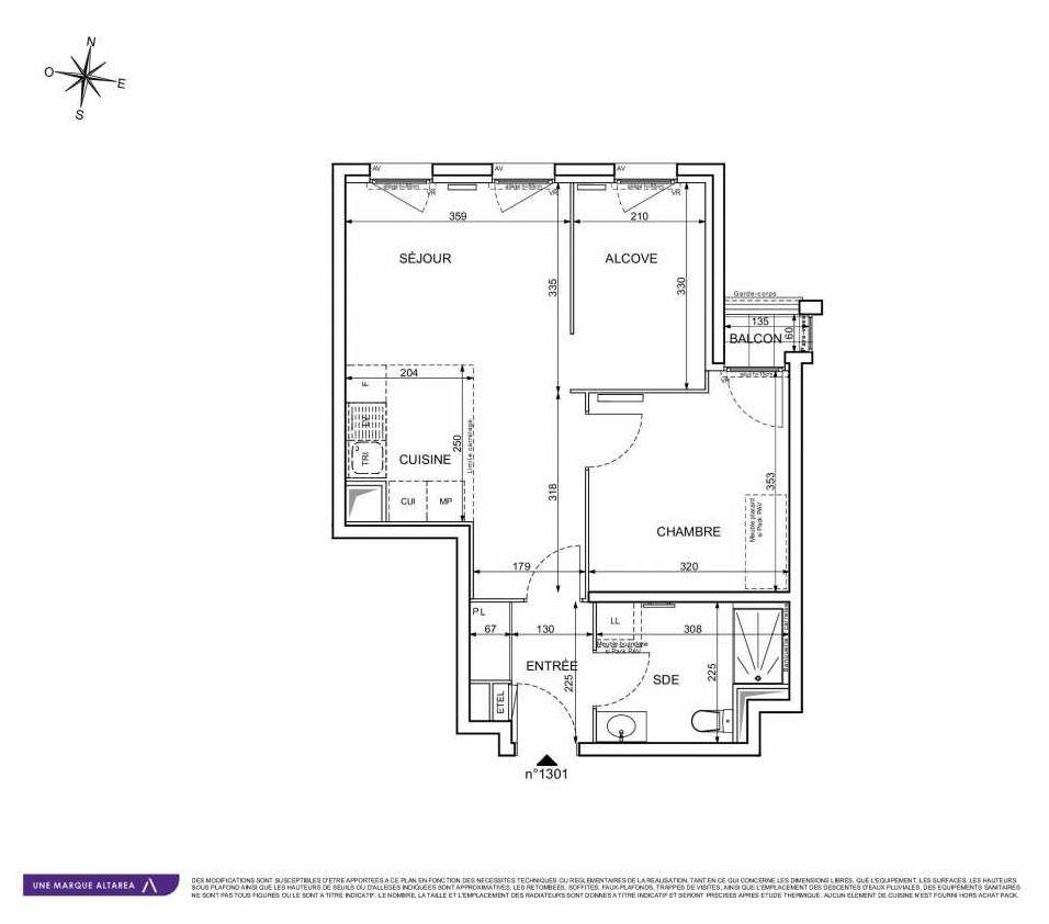 Plan 1301, appartement neuf type T2 au 3ème étage, orienté Ouest faisant 49m² du programme neuf 18 RUE CHARLES MARTIGNY à Maisons-Alfort.