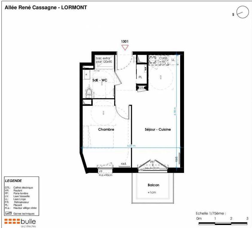 Plan 1301, appartement neuf type T2 au 4ème étage, faisant 40m² du programme neuf LES JARDINS D'ANAIS à Lormont.