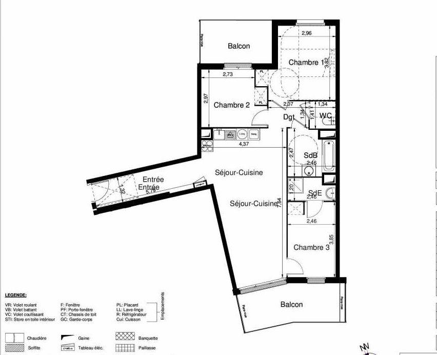 Plan 1301, appartement neuf type T4 au 3ème étage, orienté Sud faisant 80m² du programme neuf LES JARDINS D'ARGELIES BÂTIMENT 1 ET 2 à Juvisy-sur-Orge.