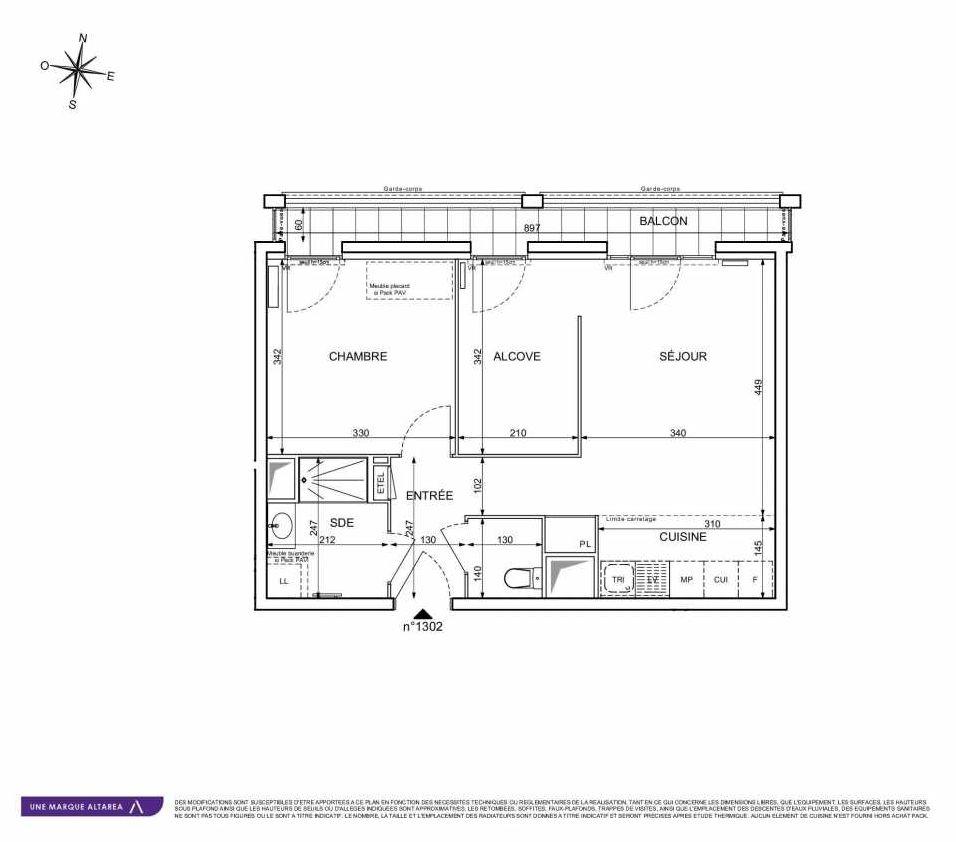 Plan 1302, appartement neuf type T2 au 3ème étage, orienté Ouest faisant 50m² du programme neuf 18 RUE CHARLES MARTIGNY à Maisons-Alfort.