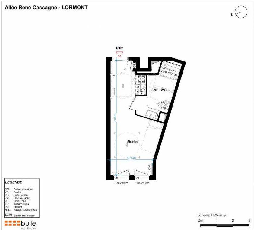 Plan 1302, appartement neuf type T1 au 4ème étage, faisant 22m² du programme neuf LES JARDINS D'ANAIS à Lormont.