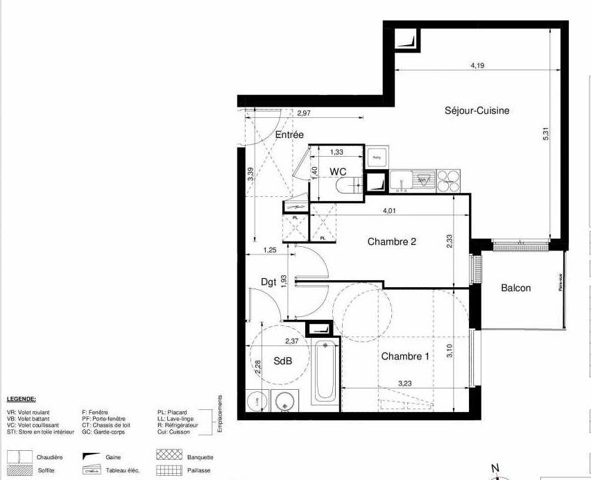 Plan 1302, appartement neuf type T3 au 3ème étage, orienté Sud faisant 57m² du programme neuf LES JARDINS D'ARGELIES BÂTIMENT 1 ET 2 à Juvisy-sur-Orge.