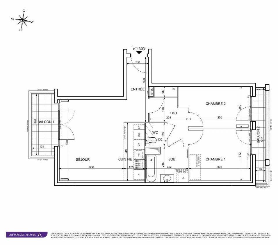 Plan 1303, appartement neuf type T3 au 3ème étage, orienté Sud faisant 63m² du programme neuf 18 RUE CHARLES MARTIGNY à Maisons-Alfort.