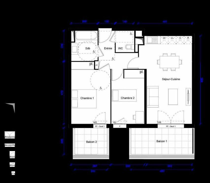 Plan 1303, appartement neuf type T3 au 3ème étage, orienté Est faisant 60m² du programme neuf ALCOVE ACCESSION LIBRE- BAT.1 à Montpellier.