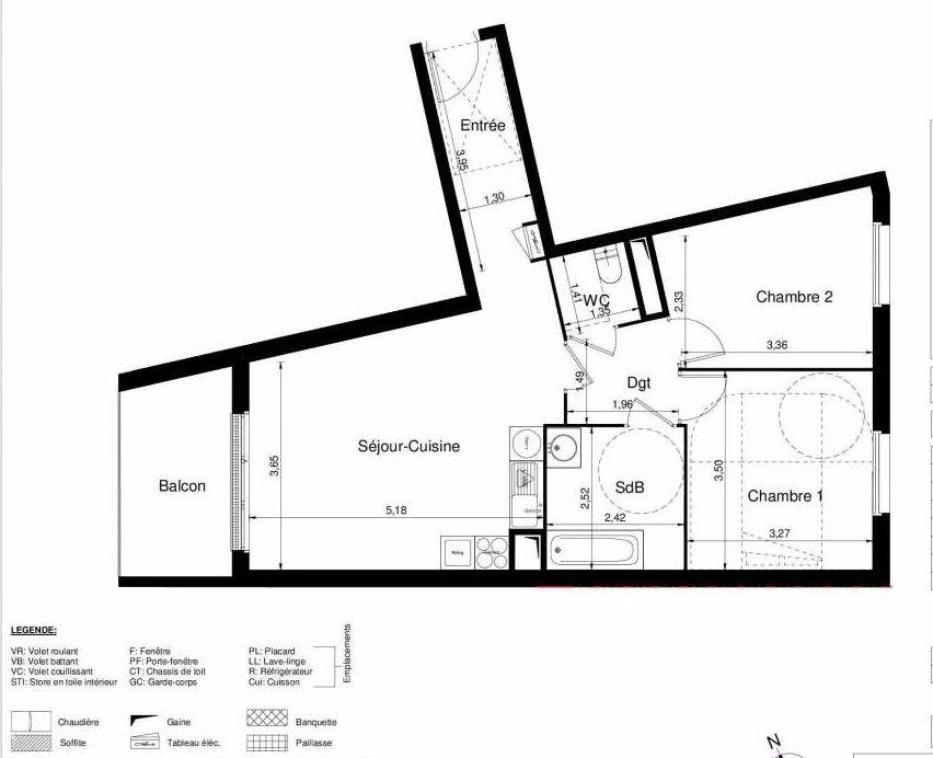 Plan 1303, appartement neuf type T3 au 3ème étage, orienté Ouest faisant 61m² du programme neuf LES JARDINS D'ARGELIES BÂTIMENT 1 ET 2 à Juvisy-sur-Orge.