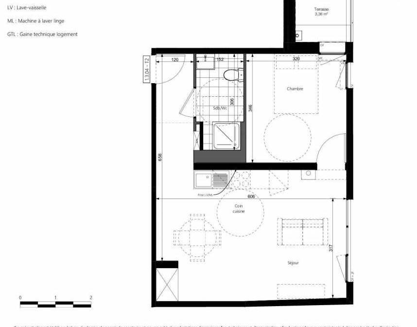 Plan 1304, appartement neuf type T2 au 3ème étage, orienté Nord faisant 45m² du programme neuf COEURVILLE BAT A à Amiens.