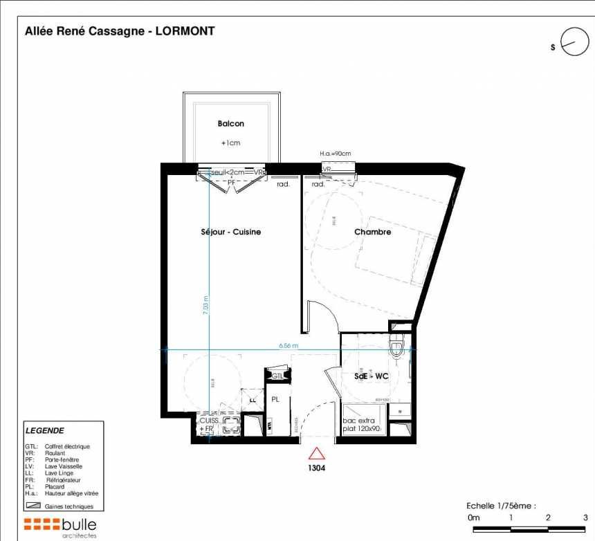 Plan 1304, appartement neuf type T2 au 4ème étage, orienté Ouest faisant 46m² du programme neuf LES JARDINS D'ANAIS BAT 1 à Lormont.