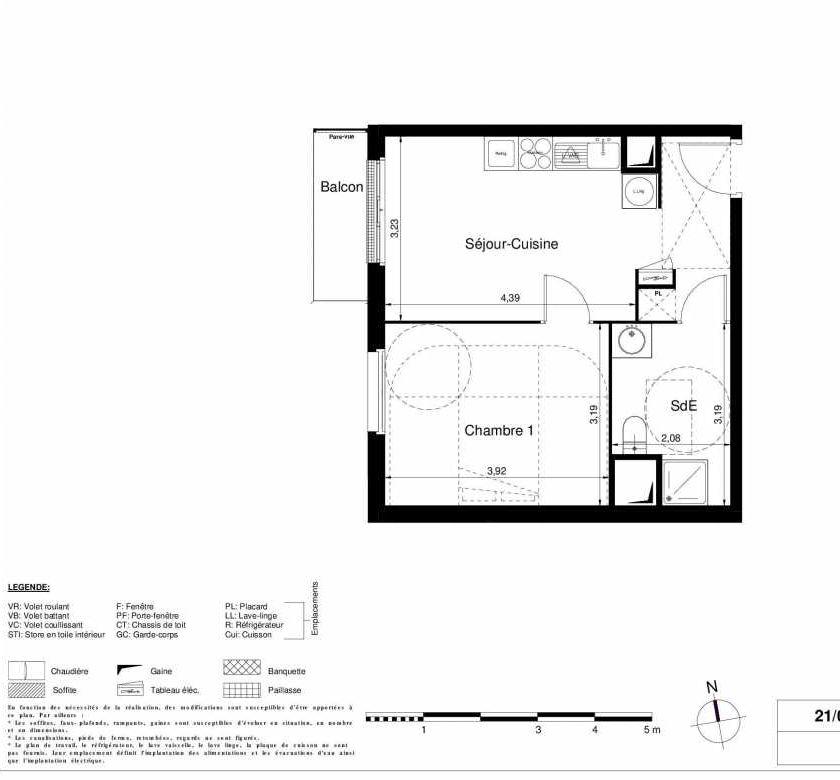 Plan 1304, appartement neuf type T2 au 3ème étage, orienté Ouest faisant 37m² du programme neuf LES JARDINS D'ARGELIES BÂTIMENT 1 ET 2 à Juvisy-sur-Orge.