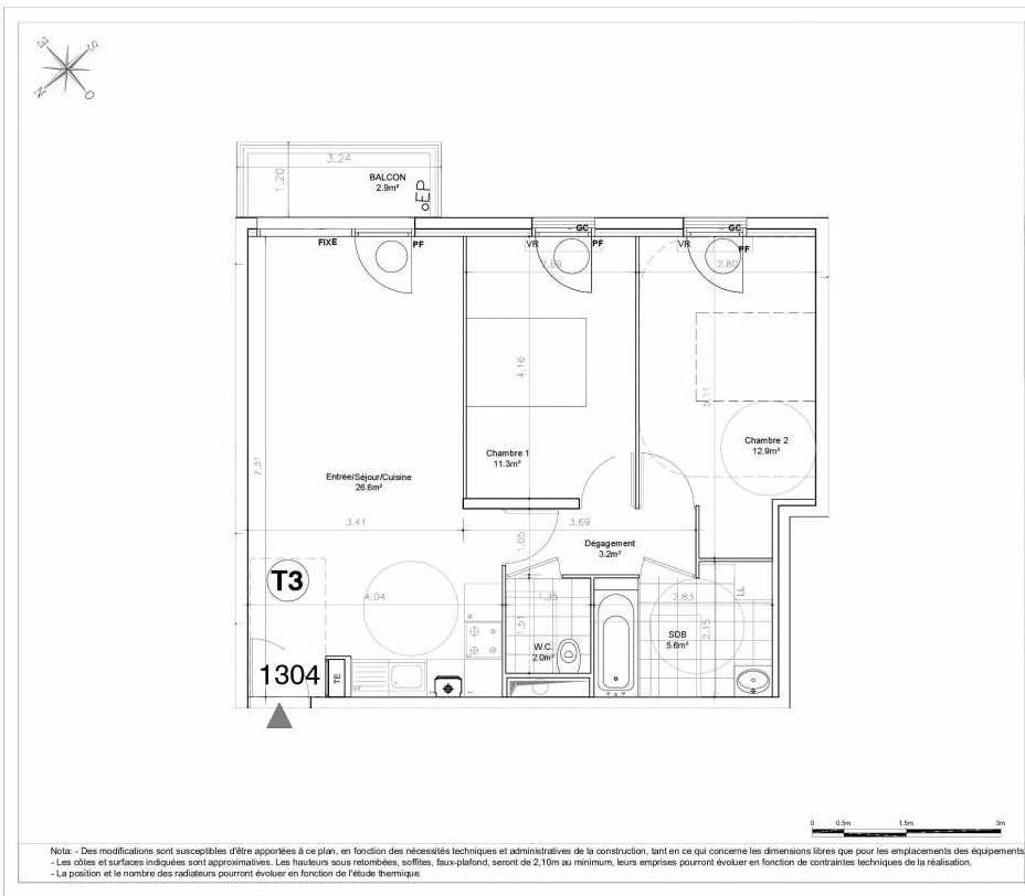 Plan 1304, appartement neuf type T3 au 3ème étage, orienté Sud faisant 62m² du programme neuf LES JARDINS D'AUNAIS ACCESSION à Aulnay-sous-Bois.
