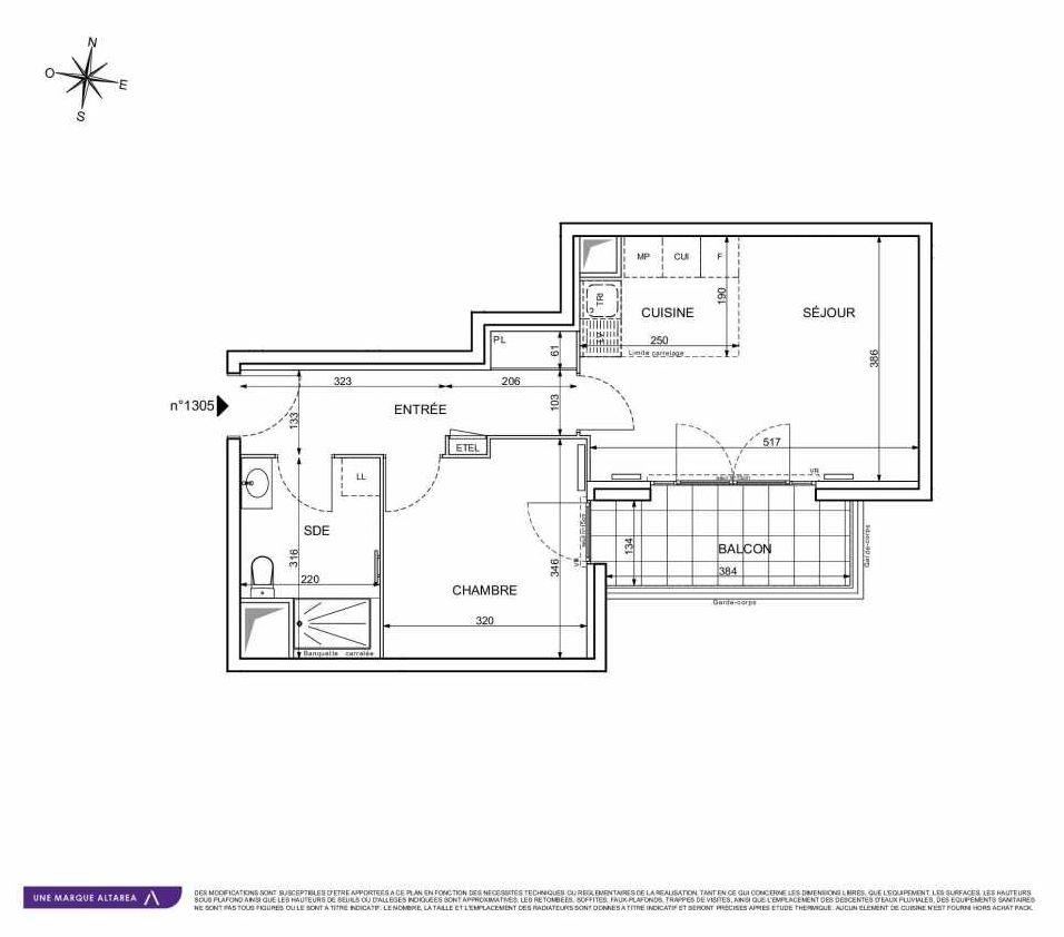 Plan 1305, appartement neuf type T2 au 3ème étage, orienté Sud faisant 44m² du programme neuf 18 RUE CHARLES MARTIGNY à Maisons-Alfort.