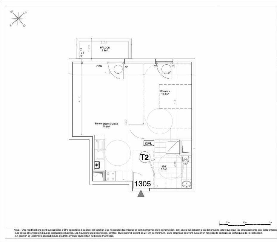 Plan 1305, appartement neuf type T2 au 3ème étage, orienté Sud faisant 44m² du programme neuf LES JARDINS D'AUNAIS ACCESSION à Aulnay-sous-Bois.