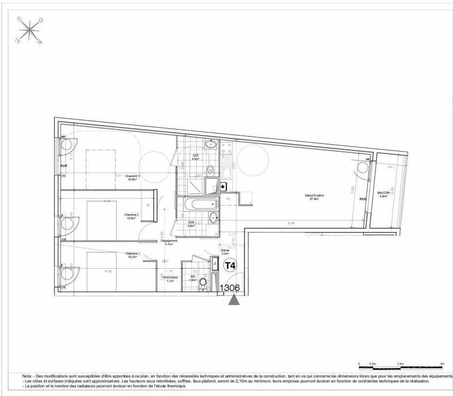 Plan 1306, appartement neuf type T4 au 3ème étage, orienté Nord faisant 86m² du programme neuf LES JARDINS D'AUNAIS ACCESSION à Aulnay-sous-Bois.