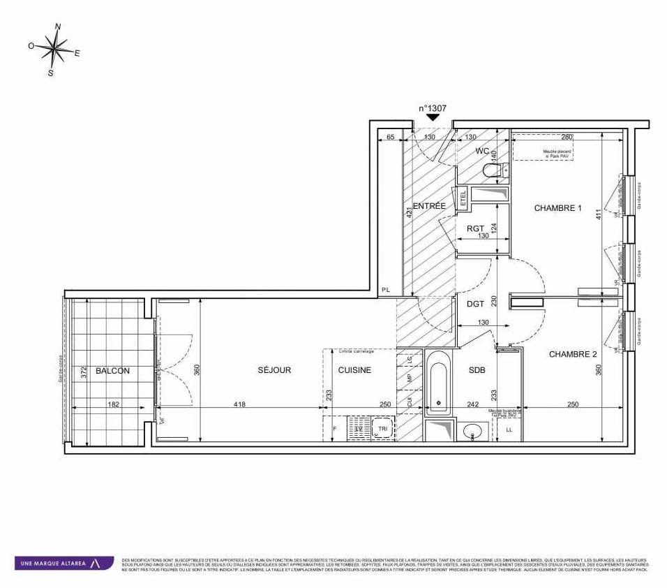 Plan 1307, appartement neuf type T3 au 3ème étage, orienté Sud faisant 65m² du programme neuf 18 RUE CHARLES MARTIGNY à Maisons-Alfort.