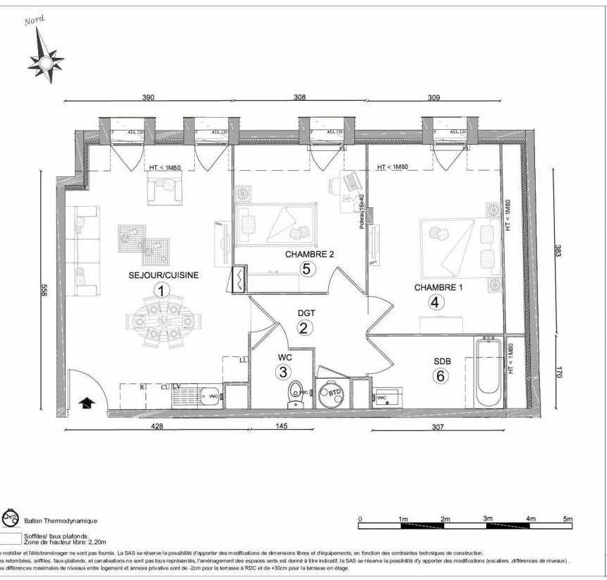 Plan 1307, appartement neuf type T3 au 3ème étage, orienté Nord faisant 57m² du programme neuf LE CLOS DU VAL A OSNY 55 LOTS à Osny.