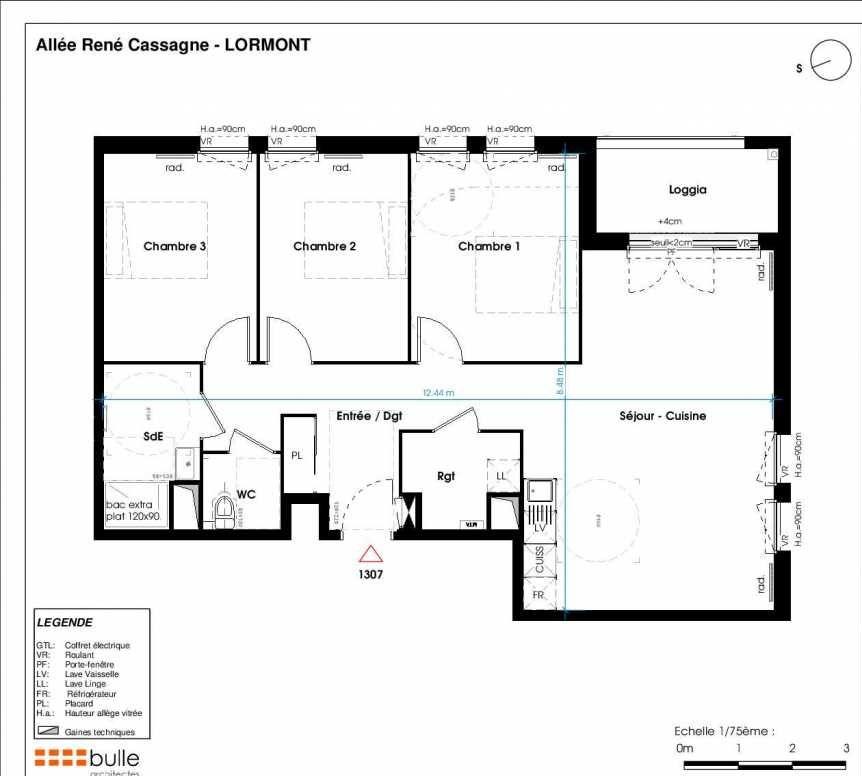 Plan 1307, appartement neuf type T4 au 4ème étage, orienté Ouest faisant 84m² du programme neuf LES JARDINS D'ANAIS BOTERO à Lormont.