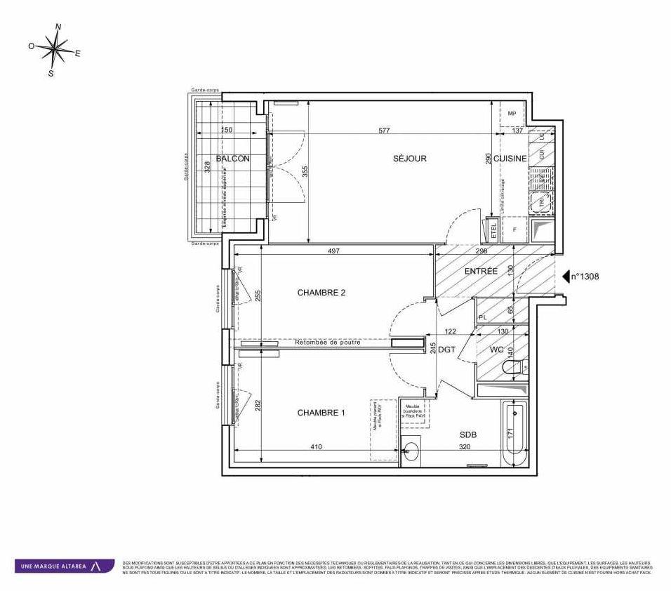 Plan 1308, appartement neuf type T3 au 3ème étage, orienté Sud faisant 64m² du programme neuf 18 RUE CHARLES MARTIGNY à Maisons-Alfort.