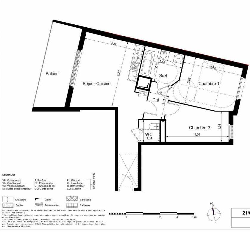 Plan 1308, appartement neuf type T3 au 3ème étage, orienté Ouest faisant 57m² du programme neuf LES JARDINS D'ARGELIES BÂTIMENT 1 ET 2 à Juvisy-sur-Orge.