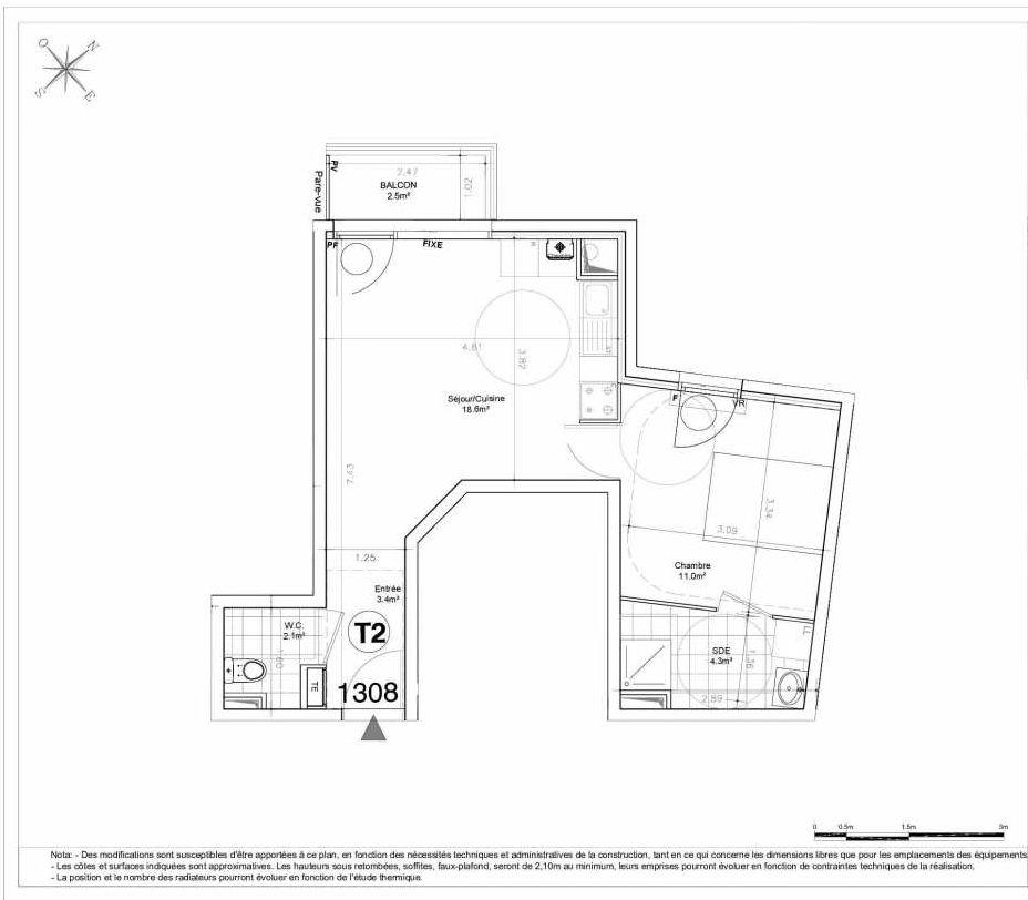 Plan 1308, appartement neuf type T2 au 3ème étage, orienté Nord faisant 39m² du programme neuf LES JARDINS D'AUNAIS ACCESSION à Aulnay-sous-Bois.