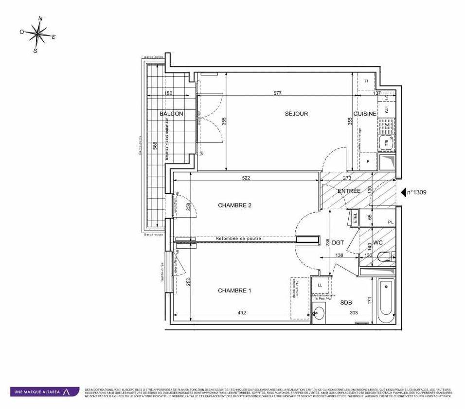Plan 1309, appartement neuf type T3 au 3ème étage, orienté Sud faisant 66m² du programme neuf 18 RUE CHARLES MARTIGNY à Maisons-Alfort.
