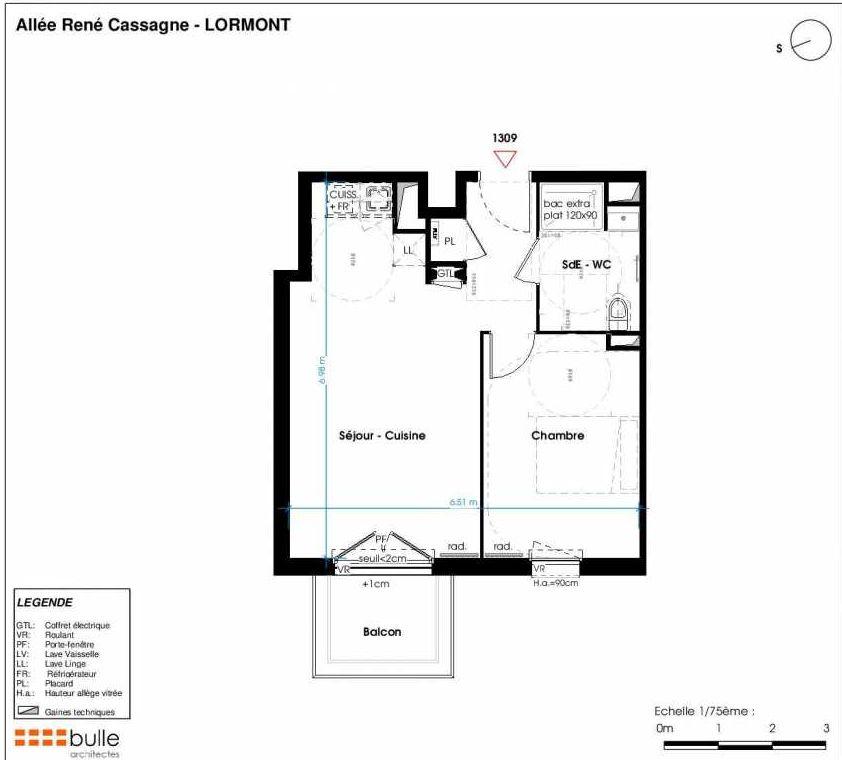 Plan 1309, appartement neuf type T2 au 4ème étage, faisant 42m² du programme neuf LES JARDINS D'ANAIS à Lormont.