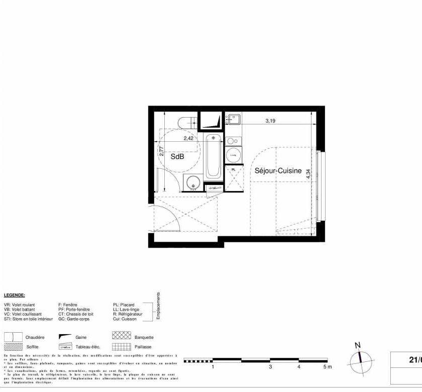 Plan 1309, appartement neuf type T1 au 3ème étage, orienté Est faisant 24m² du programme neuf LES JARDINS D'ARGELIES BÂTIMENT 1 ET 2 à Juvisy-sur-Orge.