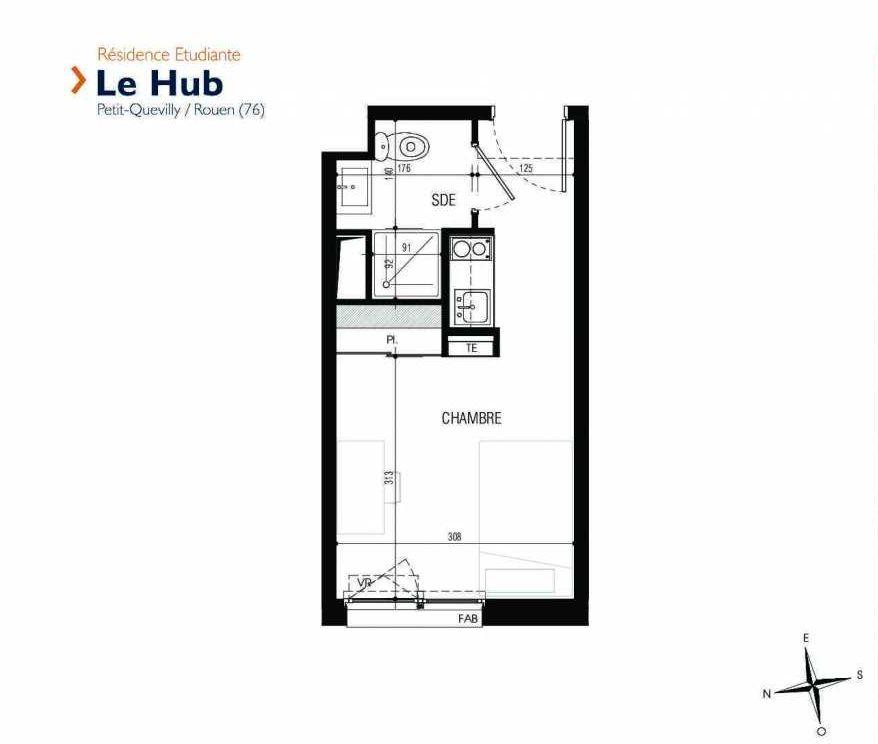 Plan 131, appartement neuf type T1 au 1er étage, faisant 18m² du programme neuf Le Hub à Le Petit-Quevilly.