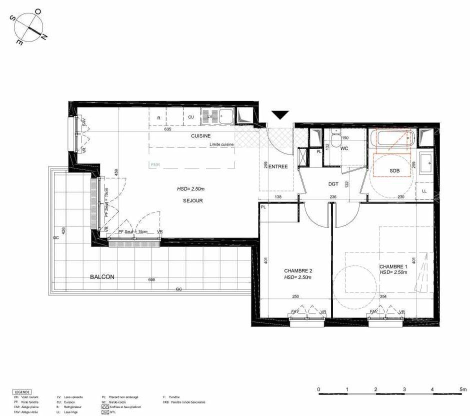 Plan 131, appartement neuf type T3 au 3ème étage, orienté Sud faisant 65m² du programme neuf LES JARDINS BALZAC BAT 3 à Argenteuil.